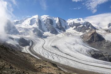 Overview of the Diavolezza and Pers glaciers, St. Moritz, canton of Graubunden, Engadine, Switzerland, Europe