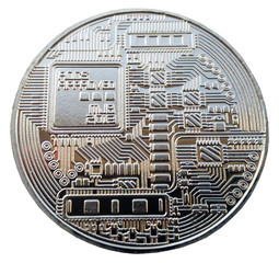The Coin of Bitcoin on the white background.