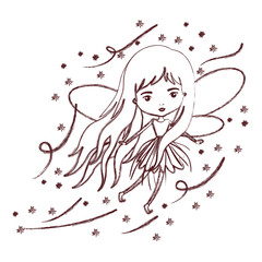 girly fairy flying with wings and long hair and stars in brown blurred silhouette vector illustration