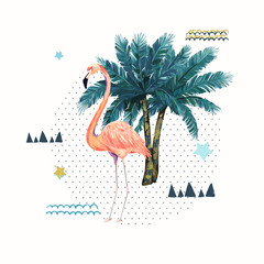 Abstract geometric poster with flamingo. Summer tropical design. Hand drawn vector illustration