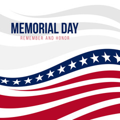 Memorial day with abstract United States flag background vector design