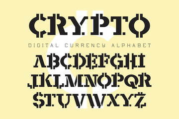 Crypto - electronic coin style font