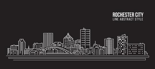 Cityscape Building Line art Vector Illustration design - Rochester city