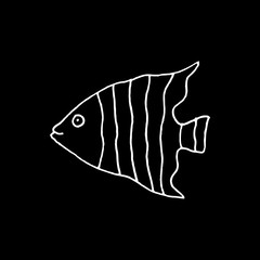 Linear cartoon hand drawn fish symbol. Cute vector black and white fish symbol. Isolated monochrome doodle fish symbol on black background.