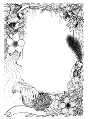 Frame of wildlife bird squirrel butterfly with water fall and flora imagination design