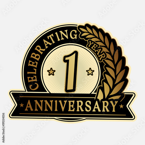 1 year anniversary logo template vector and illustration fotolia