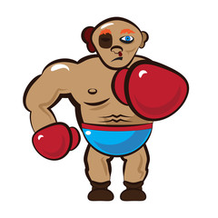 Cartoon Illustration of a Boxing Boxer with Red Gloves