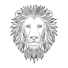 Isolated black outline head of lion on white background. Line cartoon king of animals portrait. Curve lines. Page of coloring book.