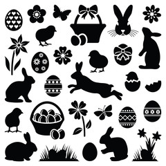 Easter eggs - hares - chicks and flowers collection - vector silhouette