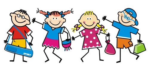 Happy school children, children with bags, funny vector illustration