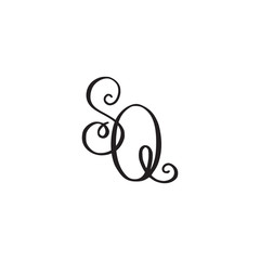 Handwritten monogram SQ icon