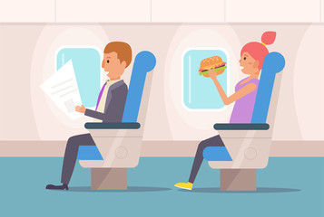 People the plane. Vector