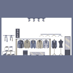 Men Suit Clothing and Shoe Store Vector