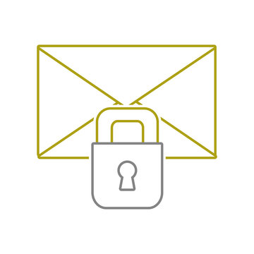 yellow line letter text message with padlock security