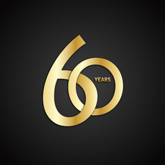 60 YEAR ANNIVERSARY Vector Icon