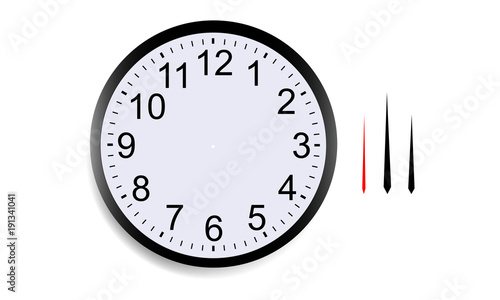 Blank round clock face with hour, minute and second hands isolated