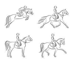 Dressage set on a white background