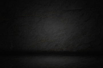 Black, dark and gray abstract  cement wall and studio room gradient background.