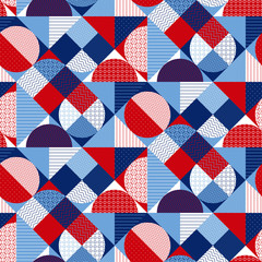 Summer Marine geometric seamless pattern.