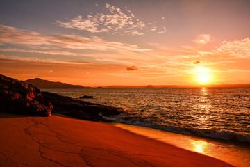 Foto auf AluDibond Wuste Sandig Japan Fukuoka Itoshima Hukunoura Sunset