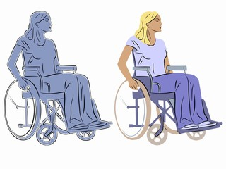illustration of a disabled person in wheelchair, vector draw