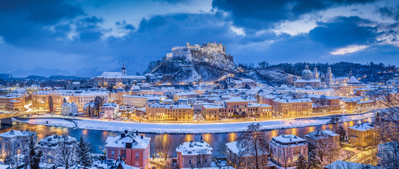 Twilight panorama view of Salzburg in winter, Salzburger Land, Austria