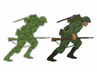 illustration of a running soldier, vector draw
