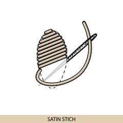 Stitches satin stitch type vector. Collection of thread hand embroidery and sewing stitches. Vector illsutration of stitching examples.
