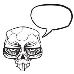 alien skull bubble black