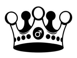 Crown with male sex symbol as metaphor of patriarchy - man is a dominant ruler, supreme authority. Vector illustration