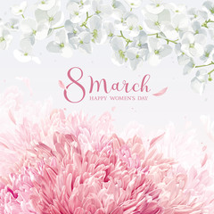 Chrysanthemums and Apple blossom for 8 March vector greeting card
