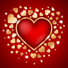 Amazing golden heart frame with 3d red heart inside and many small golden hearts on dark red background. Vector illustration