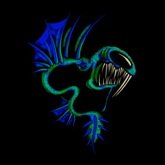 Underwater Deep Sea Monster Fish Angler Dragons Illustration Cartoon