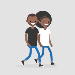 Young black couple walking and holding hands. Romantic relationships. Love. Flat editable vector illustration, clip art