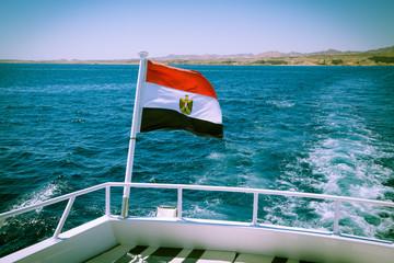 egyptian flag on the yacht deck