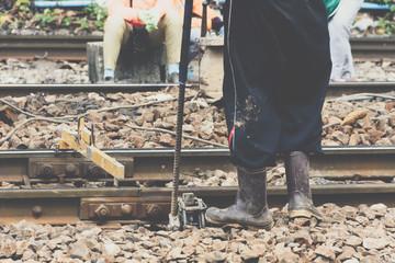 Restoration the railroad tracks for railway train