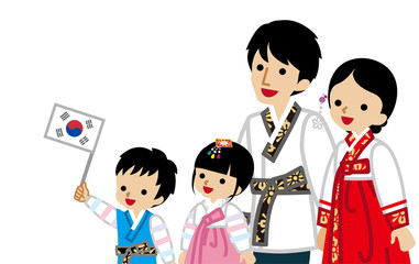 Waist up Korean Family Wearing Traditional costume,Son holding a National flag