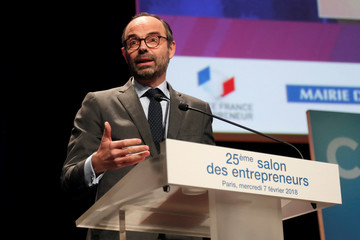 French Prime Minister Edouard Philippe delivers his speech at the Young entrepreneurs fair in Paris, France