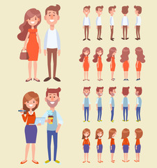 Front, side, back view animated characters - man and woman couple. Cartoon style, flat vector people illustration.