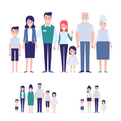 Vector family set. Big family together info graphics elements. Flat cartoon design illustration.