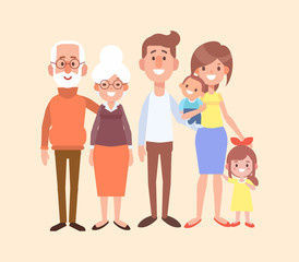 Happy family together - grandfather, grandmother, mom, dad, kids. Vector set of characters in a flat style good for animation. Cartoon style.