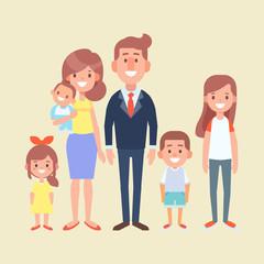 Vector family together. Flat cartoon design illustration.