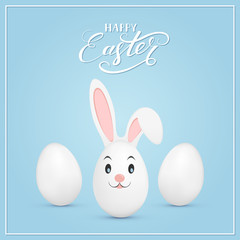 Easter rabbit and eggs on blue background