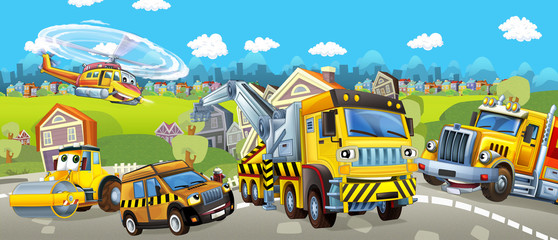 Cartoon tow truck road roller and pilot car - illustration for children