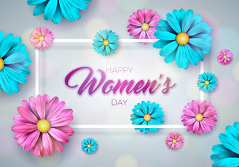 Happy Womens Day Floral Greeting card. International Holiday Illustration with Flower Design on Pink Background. Vector 8 March Spring Template.