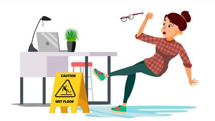 Woman Slips On Wet Floor Vector. Caution Sign. Isolated Flat Cartoon Character Illustration