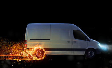 Super fast delivery of package service with van with wheels on fire