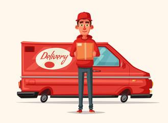 Delivery service by van. Car for parcel delivery. Cartoon vector illustration