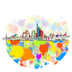 Colorful Frankfurt Skyline Sketch