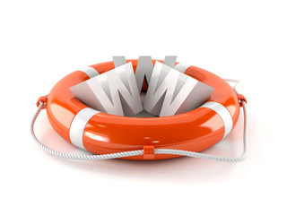 WWW text with life buoy